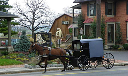 Image of an Amish Horse & Buggy in front of an Amish Quilt Shop.